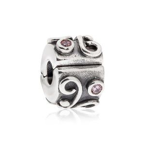 Authentic PANDORA Swirl Silver and Pink CZ Charm